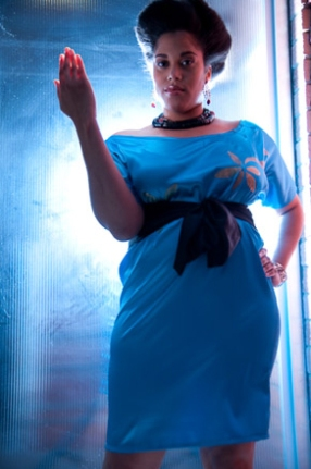 Singer Tiesha Marie wearing the Aurora Dress
