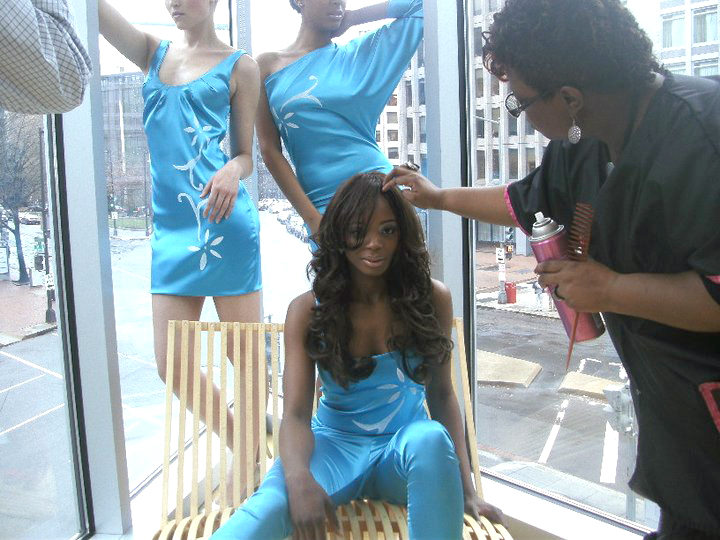 Model Rocket West and hair stylist Charlene Brown at the CW DC50 promo shoot